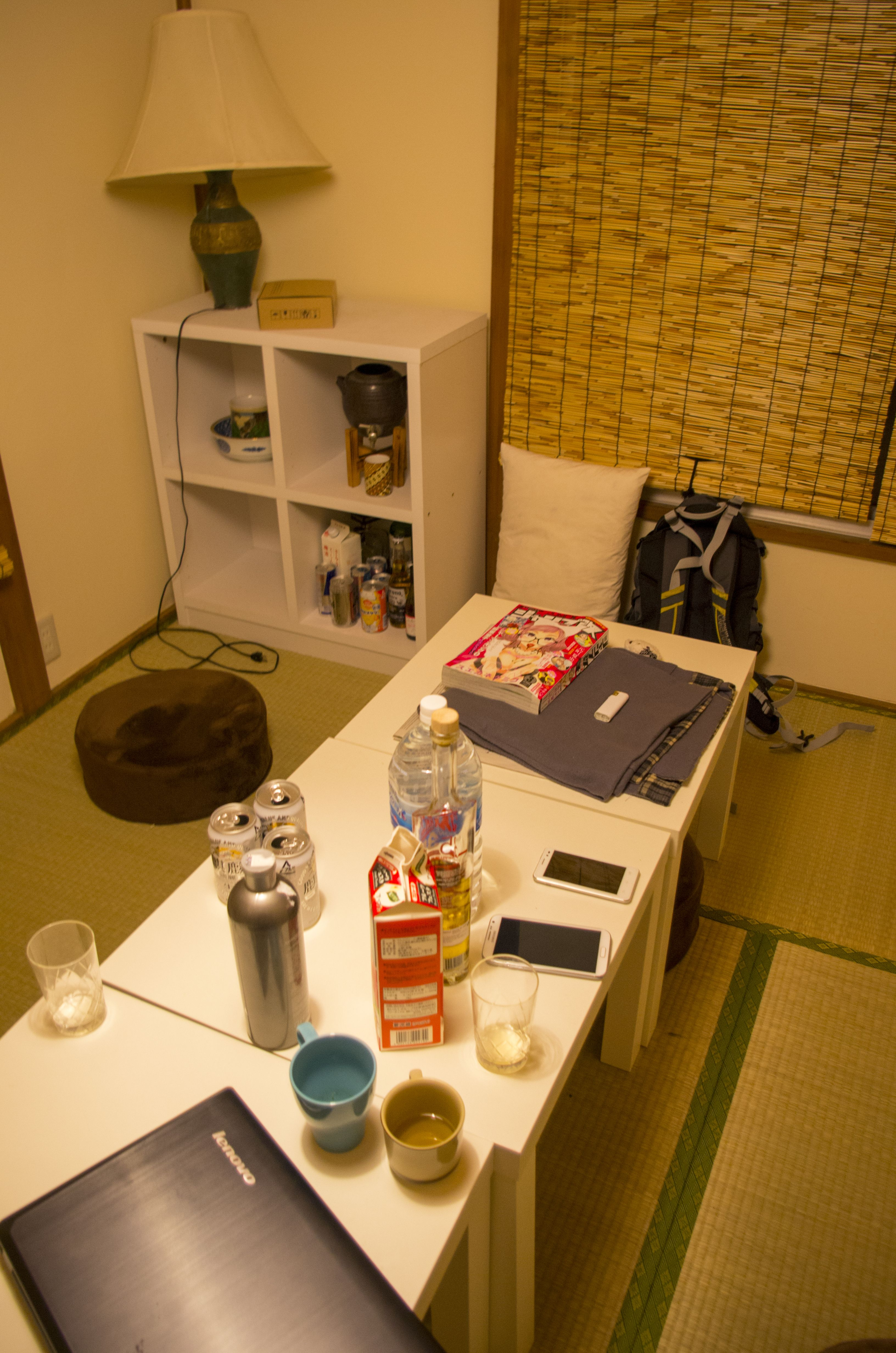 Alcohol negotiation with roommates in traditional tatami room
